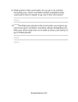 Parent Questionnaire Form Community Functioning