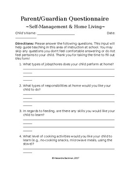 Parent Questionnaire Form Self-Management & Home Living