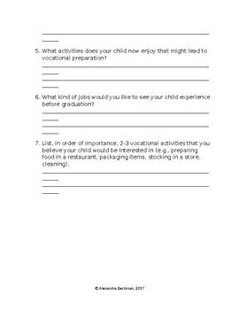 Parent Questionnaire Form Vocational Job Skills