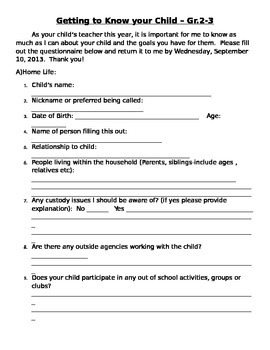 Parent Questionnaire - Getting to know your Child