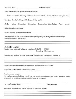 Parent Questionnaire - Really get to know your students