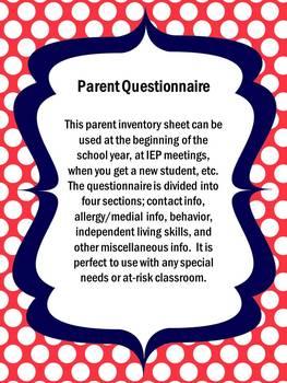 Parent Questionnaire/ Student Info Sheet