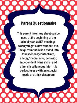 Parent Questionnaire/ Student Info Sheet