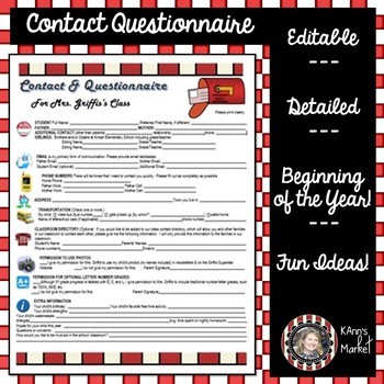 """Beginning of the Year """"Editable Parent Contact and Questionnaire Template"""""""