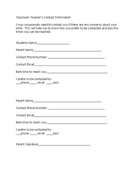 Parent Questionnaire and Contact Information