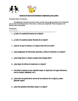 Parent Questionnaire for Back to School in English and Spanish