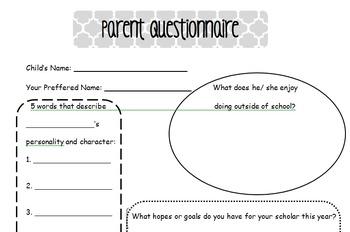Parent Questionnaire for Guardians
