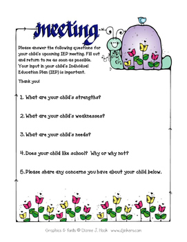 Parent Questionnaire for IEP Meetings
