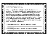 Parent Questionnaire for Speech Therapy