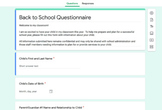 Parent Questionnaire for the Beginning of the Year