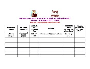 Back to School Night Sign-In Sheet