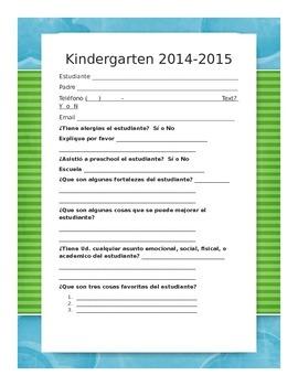 Parent Questionnaire in Spanish