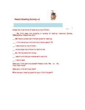 Parent Reading Survey