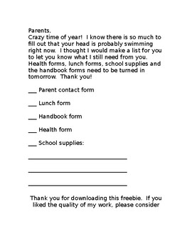 Parent Reminder Form