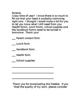 Parent Reminder Form