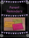 Parent Reminder Notes Cut and Go!