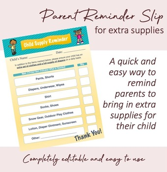 Parent Reminder Slip for Diapers and Extra Clothes