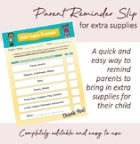 Parent Reminder Slip for Supplies, Diapers, Extra Clothes, etc.