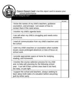 Parent Report Card = parent's night open house worksheet handout assessment