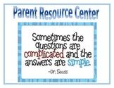 Parent Resource Center Sign