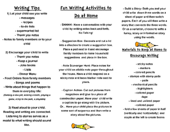 Parent Resource-Help Your Child With Writing Brochure