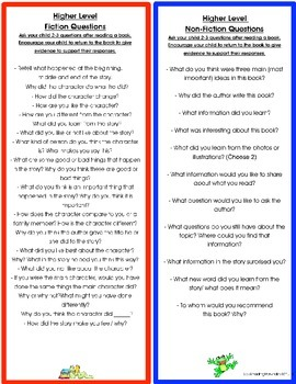 Parent Resource- Fiction and Informational Questions to Ask Your Child