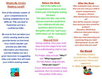 Parent Resource Help Your Child With Reading Comp Brochure