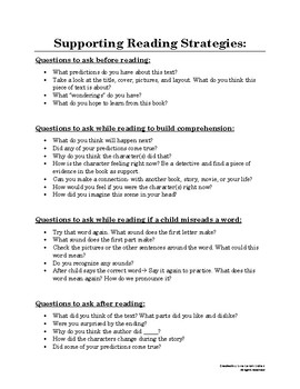Parent Resource: Supporting Reading Strategies