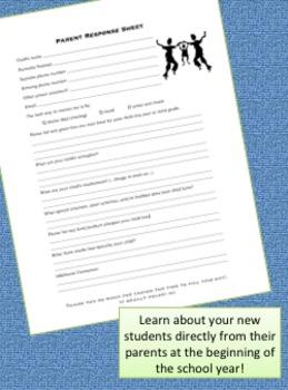 Parent Response Sheet - Back to School