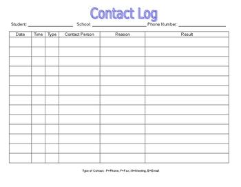 Parent / School Contact Log
