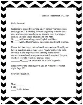 September Welcome Letter for Parents