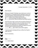 September Welcome Letter for Parents