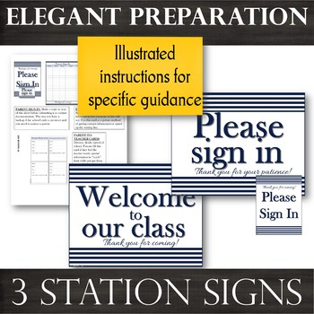 Parent Sign-In BUNDLE [Navy]:Sheets, Info Cards, Parent-to-Teacher Cards & Signs