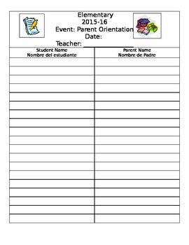 Parent Sign-In sheet *English and Spanish*