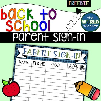 FREEBIE Parent Sign Up Sheet   Back To School or Parent Night
