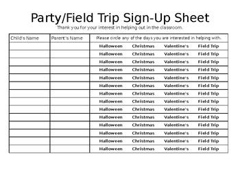 Parent Sign-Up Sheets
