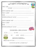 Parent/Student Information Sheet-Owl theme