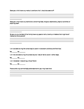 Parent & Student Information Sheet Survey Questionairre