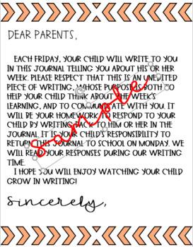 Parent-Student Journal Cover Letter