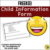 Parent / Student SURVEY - Getting to Know Your Child Questionnaire