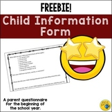 Parent / Student SURVEY - Getting to Know Your Child Questionnaire