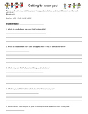 Parent Student Survey - Getting to know your students