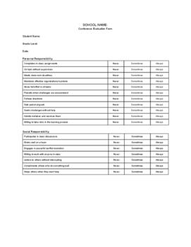 Parent Teacher Conference Form: Behavior, Assessment, Evaluation