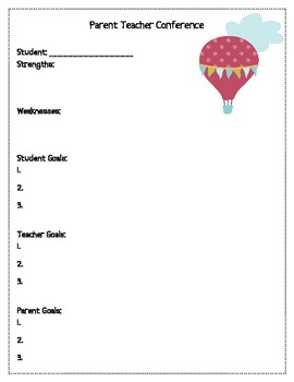parent student teacher conference form by martin science tpt