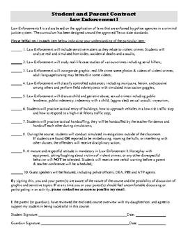 Parent-Student-Teacher Contract for Law Enforcement I