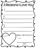 3 Reasons I Love You parent valentine & Student bookmark v