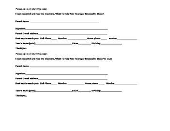 Parent Success Brochure Return Form