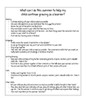 Parent Suggestions for summertime in PreK