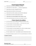Parent Support Request Form / Quick Checklist Style