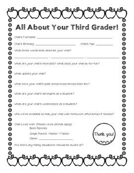 Parent Survey: All About Your Child